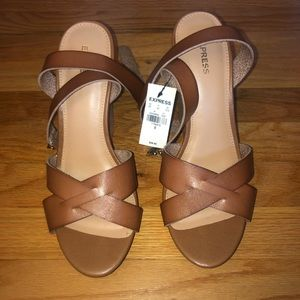 EXPRESS Wedge Tan Heels